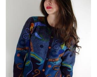 Purple colors Cardigan embroidered 100% alpaca wool
