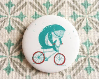 """Button / badges 2.5 """"-whale on bicycle"""