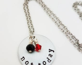 Not Today Fan Necklace Game of Thrones Jewelry Hand Stamped Metal Winter Is Coming The North Remembers Arya