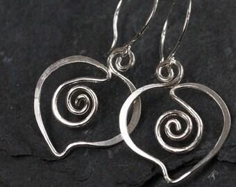 Silver 925/1000 earrings hearts 4.5 cm