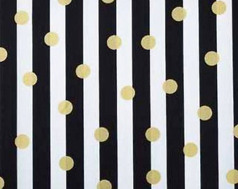 Black and White Stripe Fabric, 100% Cotton Fabric,Apparel Fabric, Gold Dot, Cotton Fabric by the Yard, Quilting Fabric, Striped Fabric