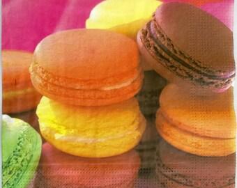 4 Decoupage Napkins, pink macarons, fucsia party, fucsia tissue napkins for scrapbooking, fucsia cake, paris macarons, tissue paper, S2
