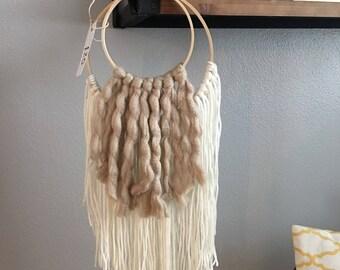 Yarn Wall Hanging Double Hoop Cream