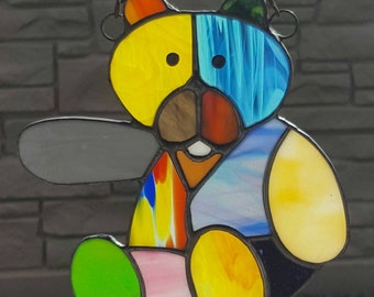 STAINDED GLASS Patchwork Teddy Bear Hand Made