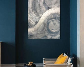 Original oceans blue textured painting 24x30 gallery canvas swirl color