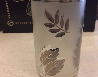 Hostess Glassware Set By Libbey Set of 8 Tumbler with Silver Leaves