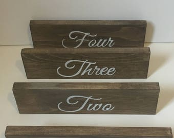 Rustic Wood  Wedding Table Numbers  - SET OF TEN - Table Decorations - Wedding Decor - Event Decor - Calligraphy - Cursive Writing - Painted