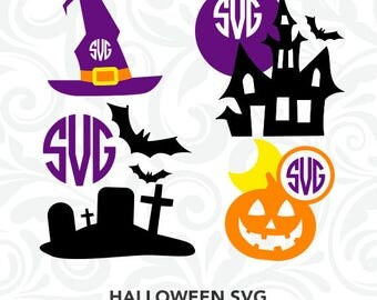 Halloween SVG, Halloween Monogram Files, Halloween Cutting Files, Cricut Design, SiIhouette Cameo, Clipart, dxf eps png jpg, C-019