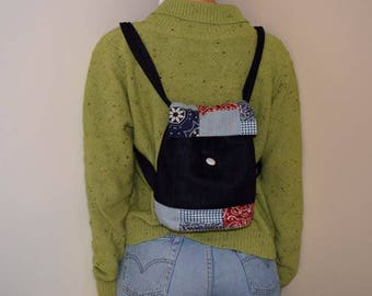 Patchwork backpack and small wallet