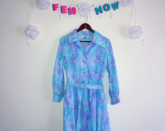 Vintage 1960s Dress, Sears Perma Prest - Pastel Paisley
