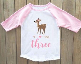 deer birthday shirt, girls woodland birthday shirt, girls woodland birthday, woodland birthday, woodland birthday shirt, girl birthday shirt