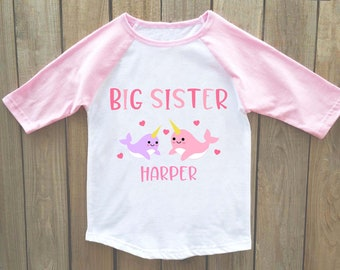 sibling outfits, sister outfits, sister shirts, Big sister announcement shirt, big sister shirt, big sister announcement, narwhal shirt