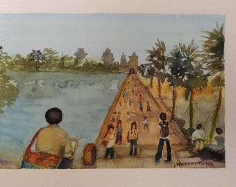 Angkor Wat Cambodia Original watercolour