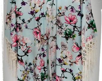 Beach Boho Kimono Coverup Magnolia Aqua Print