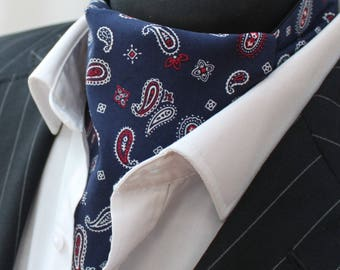 Cravat Ascot UK Made Blue Paisley. Cravat & Hanky.Premium Cotton.