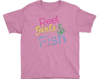 Reel Girls Fish Sports Distressed All Cotton Tee Youth Short Sleeve T-Shirt
