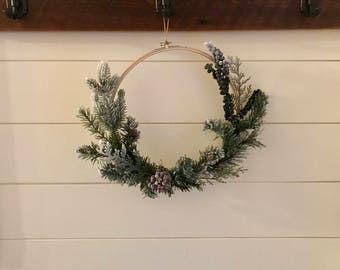 Winter Flocked Greenery Embroidery Hoop Wreath