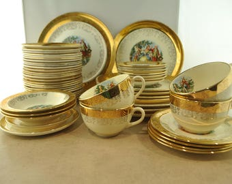 Sabin Crest O Gold Warranted 22K Gold Colonial Dish Set - 54 PIECES!
