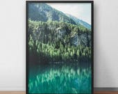 Green Forest Decor, Mountain Lake Print, Alpine Lake Autumn, Water Reflection, Alps, Austrian Landscape, Nature Photography, Wall Art