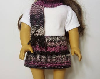 "Purple/Gray Knit Doll Hat and Scarf - Hand-made to fit like American Girl Doll Clothes - 18"" Doll Clothes - Knit Doll Clothes"