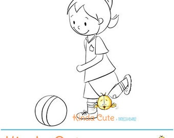 Girl playing soccer digital stamp (black/white only). Instant download. Digital stamps with girls. Girl digital stamp. Digistamp.