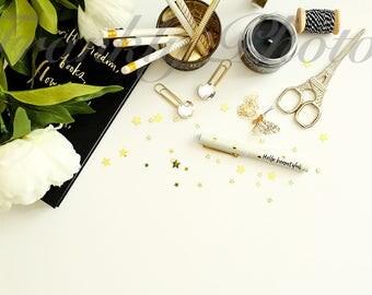 Black & Gold Desk Styled Stock Photography / Stock Photo / Styled Desktop / Lifestyle Stock Image / Feminine Flatlay /Frankly Photos File #2