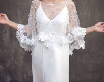 "Bridal Separates, Custom Bridal Separates, Wedding Dress Cape ,Bridal Capelet, Wedding Dress Capelet, Lace Wedding Bolero / ""Cape 96"""