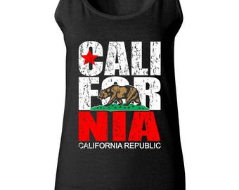 California Republic Cali Bear The Most Popular Women Tank Top Sleeveless Tops Best Seller Designed Women Tanks