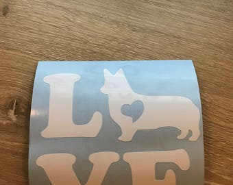 LOVE corgi decal