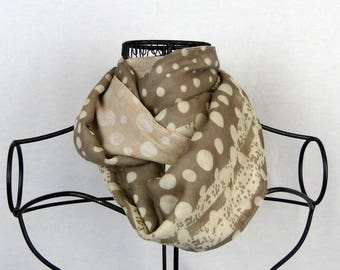 Neck, scarf infinite woman snood was scarf woman scarf Brown, beige neck, beige scarf, reversible scarf