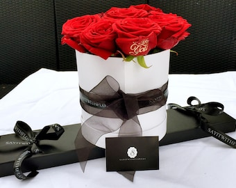 Personalised Red Rose Hat Box Bouquet  printed with I Love you in gold