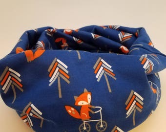 Blue infinity scarf with a fox riding a bicycle