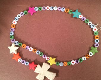 Hail Mary Helper rosary with multicolor letters and stars