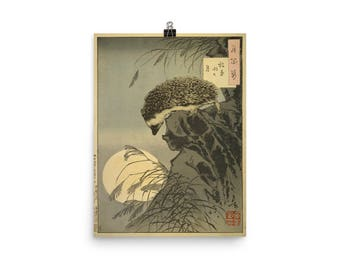 "Taiso Yoshitoshi's ""Hedgehog Princess Peering at Moon from Cliff"" (1885) Poster"