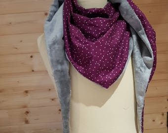 Adult scarf grey, purple scarf, Snood fleece, cotton