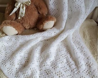 Handmade Knitted White Baby Christening Blanket
