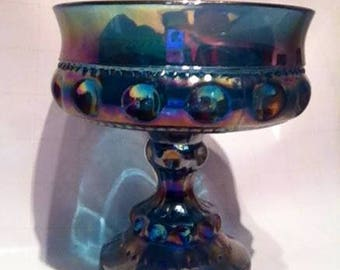 Vintage-style aquamarine collectible glass bowl