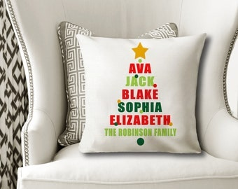 Christmas Family PILLOW, Christmas Tree Pillow, Personalized Christmas Gift, Family Name Pillow, Pillow Cover or With Insert-Made in USA