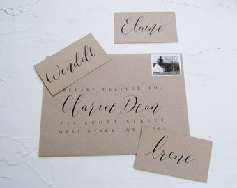Hand Written Place Cards - Calligraphy Place Cards - Craft Paper Brown - Wedding Place Cards - Modern - Custom Calligraphy - Wedding Paper