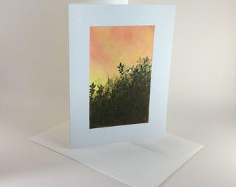 Field at sunset blank card, individually handmade, not printed: notecard, fine card, SKU BLA71019