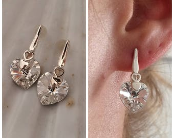 Swarovski earrings, heart earrings, sterling silver