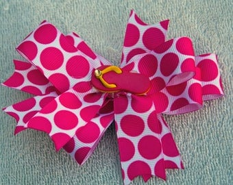 Pink and White Hair Bow, Infant Girl Toddler Hair Bow, Alligator Clip