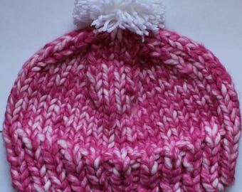 Handmade Knitted Pom-Pom Beanie Hat | Pink and White | Adult