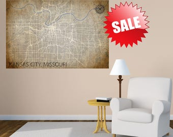 Kansas City Map Canvas - Map Print - KC Map - Map Print - Home Map - Anniversary Gift - Missouri  - Map Art - Home Decor - Maps - Custom Map