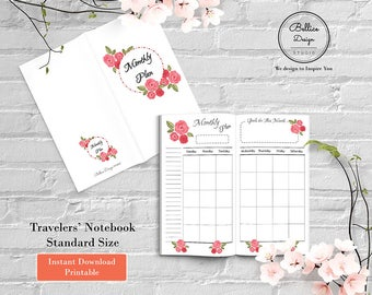 Month on Two Pages, Printable Inserts, Planner Printable Inserts, Standard TN Printable, Inserts, Monthly Printable, Undated Monthly Planner