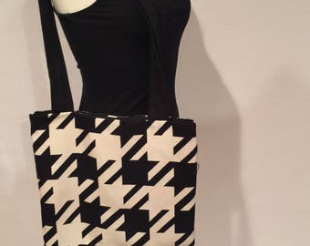Black and White Houndstooth Wool Bag