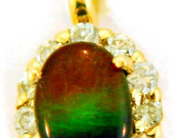 Petite Ammolite and Diamond 14k Yellow Gold Pendant.