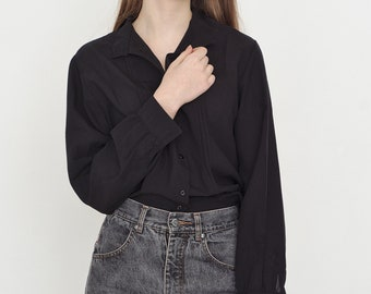 VINTAGE Black Classic Retro Button Downs Shirt