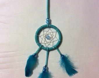 Handmade mini dream catcher blue turquoise