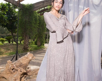 Grey Maxi Dress With Bell Sleeves